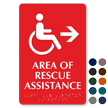 Area Of Rescue Assistance Accessible Symbol Right Arrow Sign