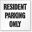 Resident Parking Only Stencil