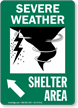 Severe Weather Shelter Area Upper Left Arrow Sign