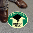 Severe Weather Shelter Area with Graphic Sign