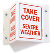 Take Cover Severe Weather Projecting Emergency Sign