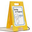 Testing In Process, Keep Quiet Floor Sign