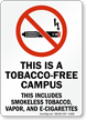 Tobacco-Free Campus, Smokeless Tobacco, Vapor, And E-Cigarettes Sign