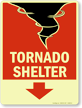 Tornado Shelter Sign with Upper Right Arrow