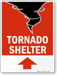 Tornado Shelter Sign with Up Arrow