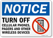 Notice Turn Off Cellular Phones, Pagers Sign