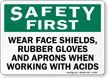 Wear Shield Rubber Gloves Aprons Handling Acids Sign
