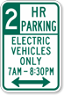 Custom Electric Vehicles Time Limit Sign