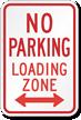 Bi-Directional No Parking Loading Zone Sign