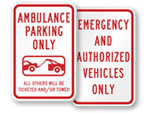 Emergency & Ambulance Parking Signs