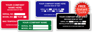 Quotation for Custom Equipment Name Plates