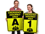 Fluorescent Evacuation Assembly Area Signs