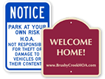Homeowner Association Parking Signs