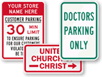 Parking Lot Signs by Patrons and Organizations