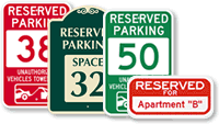 Reserved Parking Spot Signs