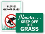 Stay Off Grass Signs