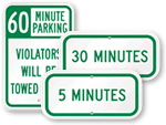 Supplemental Time Limit Parking Signs