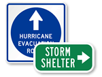 Hurricane Signs, Wildfire Signs for Evacuation Routes and Shelters
