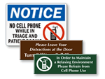 No Cell Phone Signs For Hospital