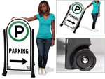 Portable signs for parking lots