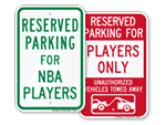 Sports Reserved Parking Signs