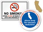 California No Smoking and Smoking Permitted Signs