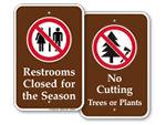 Campsite Prohibition Signs
