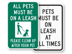 Leash Required Signs