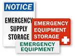 Emergency Supply Storage Signs