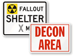 Fallout Shelter & Decontamination Signs