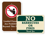 Fire & Weapon Prohibition Signs
