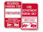 Fire Department Reserved Parking Signs - by Title