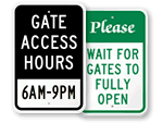 Gate Entrance Signs