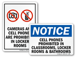 No Cell Phones Signs For Locker Room