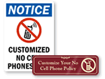 Custom No Cell Phone Signs