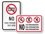 No Skateboard Signs - Custom Templates