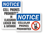Notice No Cell Phone Signs