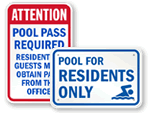 Private Swimming Pool Residents Only Signs