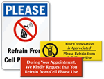 Refrain From Cell Phone Use Signs