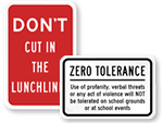 School Grounds Rules Signs