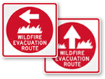Wildfire Evacuation Route Signs