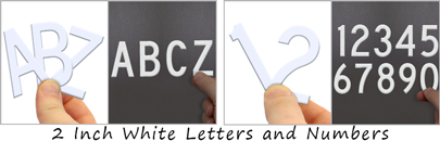 "Reflective die-cut 2"" numbers and letters"
