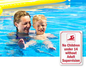Adult Supervision Required Pool Signs