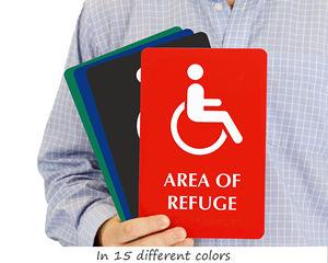 Area of refuge sign braille