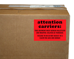 Attention Carriers This Shipment Palletized Label