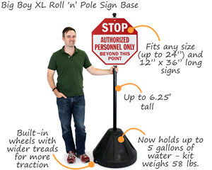 Big Boy XL Roll 'n' Pole Black Base