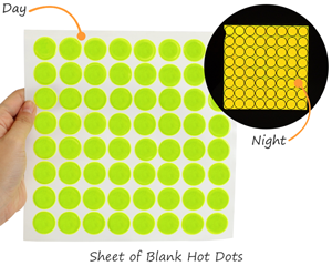 Blank yellow-green fluorescent reflective hot dots