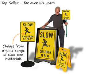children at play sign, slow down