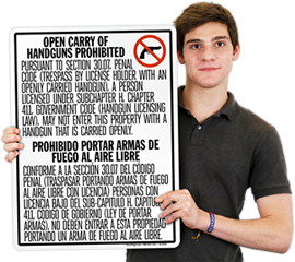 Texas Concealed and Open Carry Signs