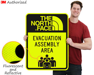 Custom emergency assembly area sign